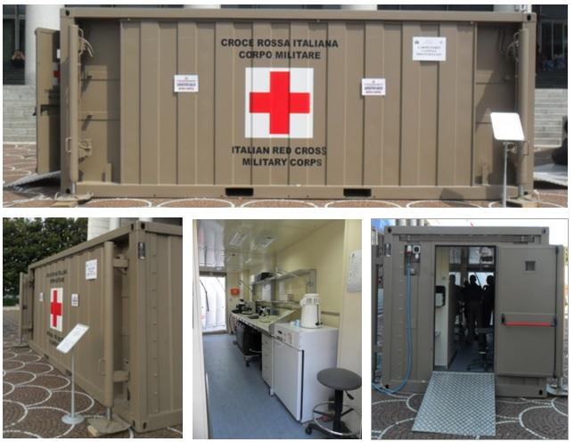 Figure 1. Outside and inside views of the sheltered laboratory of the Military Corps. This module is six meters long (upper panel). The outside view (left-bottom panel) shows details of the pneumatic positioning system. The outside-lateral view shows the entrance and power plugs (right-bottom panel). The inside view shows the position of the equipment.