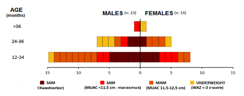 Figure 1.  Classification of malnutrition by age and sex at baseline