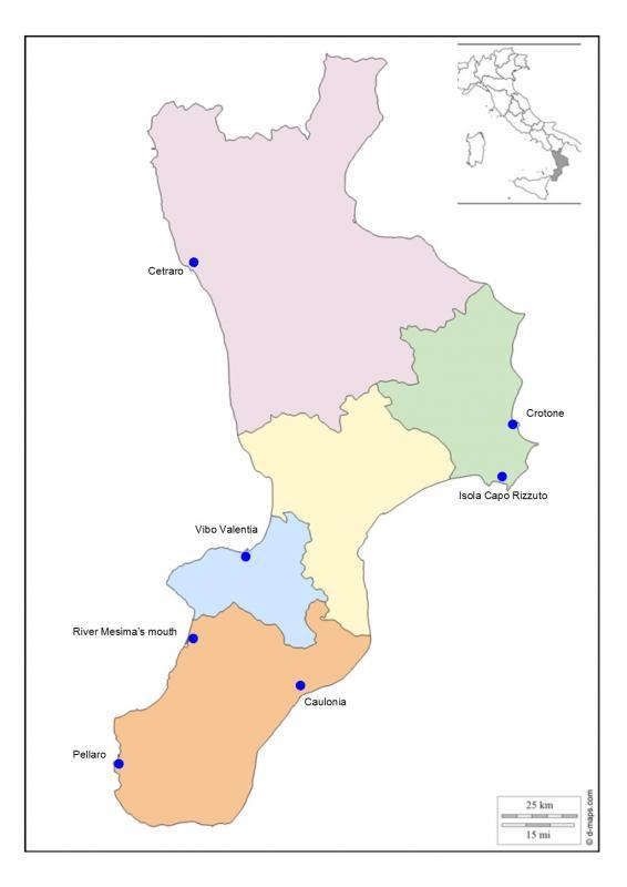 Figure 2. Study areas along the coastline of Calabria, Italy