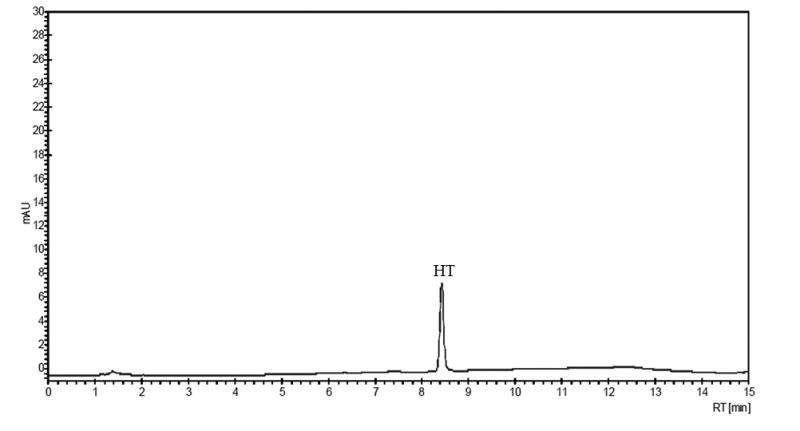 Figure 2. Exemplificative HPLC chromatogram of qualitative-quantitative analysis of HT in plasma sample.